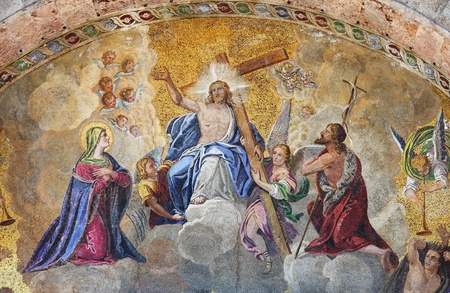 artistic jesus: Venice, Italy - August 5, 2012: Mosaic in St. Mark Basilica depicting the Ascension of Jesus Christ