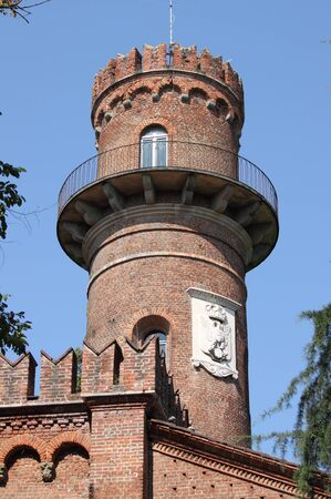 monza: Monza, Italy - September 15, 2012: Tower of medieval building in Monza real park