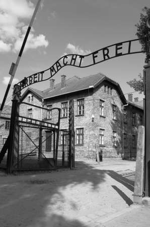 Oswiecim, Poland - July 23, 2011: Entrance gate to Auschwitz concentration camp Stock Photo - 16377398