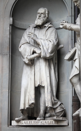 Statue of Galileo Galilei outside the Uffizi Museum in Florence, Italy