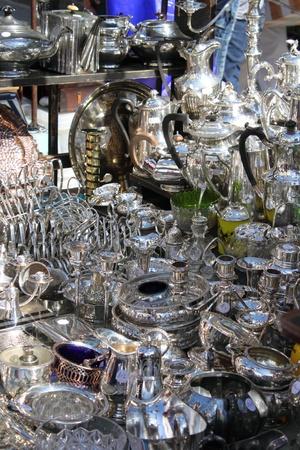 Silverware stall in Portobello road. London, UK Stock Photo - 16593890