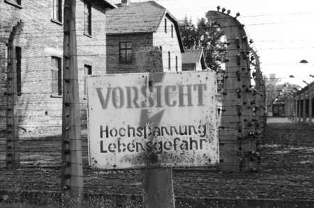 Oswiecim, Poland - July 23, 2011: Warning sign at Auschwitz concentration camp Stock Photo - 16743414
