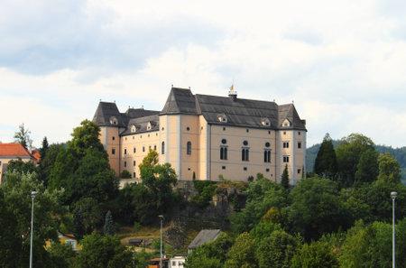 Grein, Austria - July 19, 2011: Landscape view of Greinburg Castle Editorial
