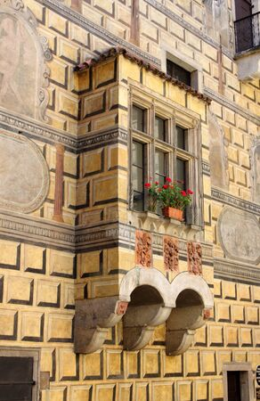 frescoed: Detailed view of a romantic balcony in a medieval castle