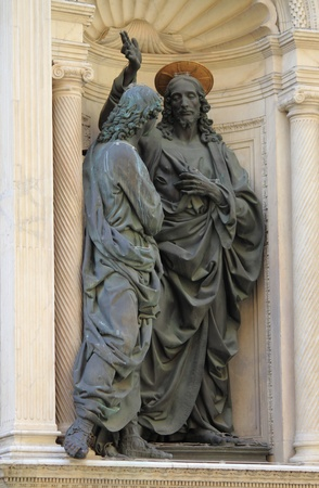 Statue of Jesus shows his wounds to a doubting Thomas in Orsanmichele church. Florence, Italy Stock Photo - 16700373