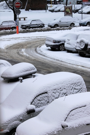 wintriness: A winter day with parked cars trapped under snow Stock Photo