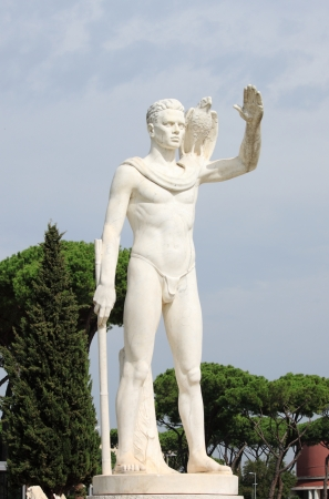 naked male body: Statue of a falconer in the Foro Italico district of Rome, Italy