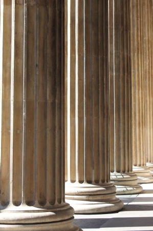 Games of perspective in a renaissance colonnade Stock Photo