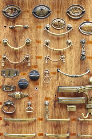 Bronze and brass door knobs sold in a hardware store Stock Photo - 16756838