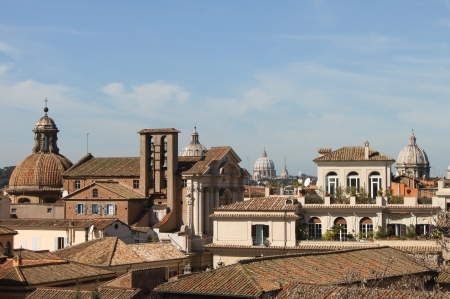 Urban scenic of Rome with domes and churches photo