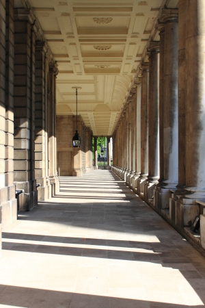 greenwich: Colonnade of old Royal Naval College in Greenwich  London, UK