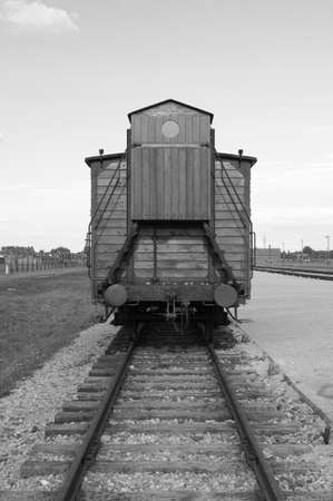 Oswiecim, Poland - July 23, 2011: Deportation wagon at Auschwitz Birkenau concentration camp Stock Photo - 16860517
