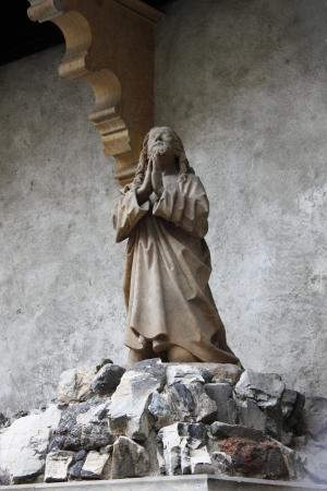 Jesus praying in the garden of Gethsemane photo
