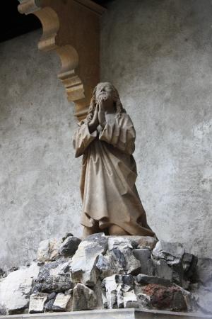 statuary garden: Jesus praying in the garden of Gethsemane Stock Photo