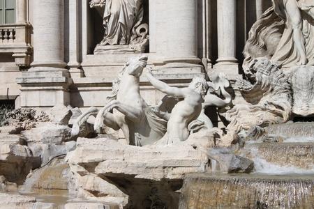statuary: Detail of Trevi Fountain in Rome, Italy Stock Photo