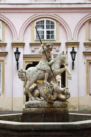 primate: Statue of Saint George killing the dragon in Primate palace of Bratislava, Slovakia