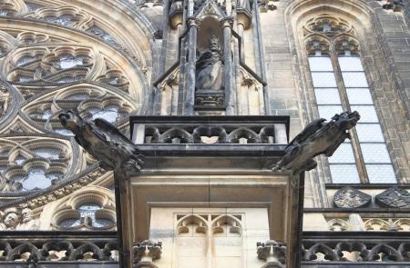 gargoyles: Gargoyles in St. Vitus Cathedral in Prague, Czech Republic Stock Photo