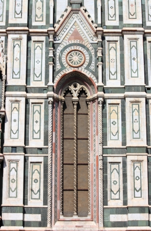 Stained glass window on Florence cathedral. Florence, Italy photo