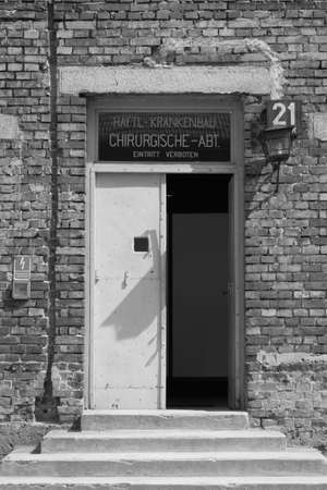 Oswiecim, Poland - July 23, 2011: Hospital barrack at Auschwitz concentration camp
