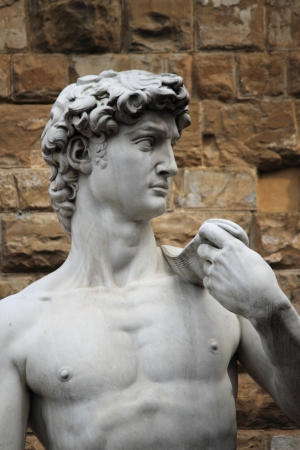 Statue of David carved by Michelangelo in Florence, Italy