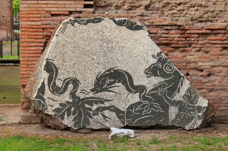 Ancient mosaic pattern in Caracalla Baths. Rome, Italy photo