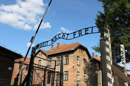 Oswiecim, Poland - July 23, 2011: Entrance gate to Auschwitz concentration camp Stock Photo - 17145106