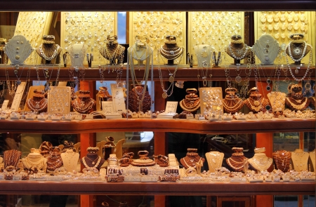 Shop window with a lot of jewellery