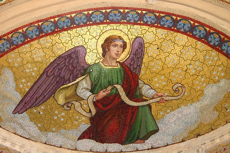 messengers of god: Ancient mosaic of an angel Editorial