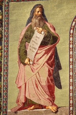 isaiah: Mosaic of the Prophet Isaiah in the facade of Basilica of Saint Paul outside the walls. Rome, Italy