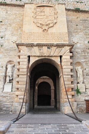 drawbridge: Main entrance gate of Dalt Vila in Ibiza, Spain
