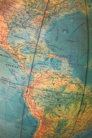 planisphere: Closeup of an world globe with focus on americas