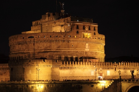 Rome, Italy - December 12, 2012: Saint Angel Castle by night