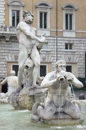 bernini: Moor fountain in Navona Square of Rome, Italy