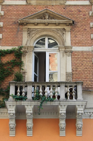 ut: Renaissance balcony in Andrassy Avenue of Budapest, Hungary Editorial