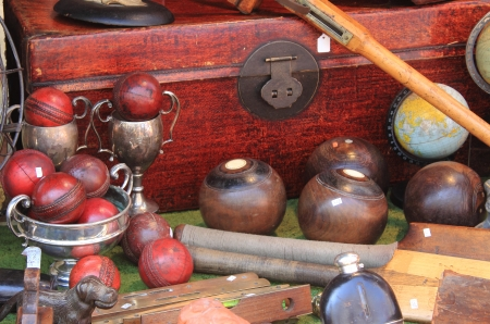 Leather cricket balls for sale in a market stall Stock Photo - 17554252