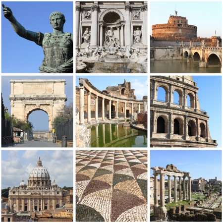 angels fountain: Collage of landmarks of Rome, Italy