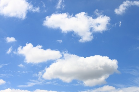 Blue sky and puffy white clouds photo