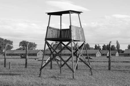 birkenau: Sentry box at Auschwitz Birkenau concentration camp, Poland Stock Photo