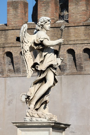bernini: Rome, Italy - February 24, 2012: Angel statue in Saint Angel bridge
