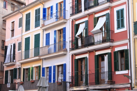 Colourful houses in the downtown of Palma de Mallorca, Spain Stock Photo - 17948475