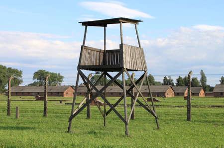 auschwitz memorial: Sentry box at Auschwitz Birkenau concentration camp, Poland Editorial