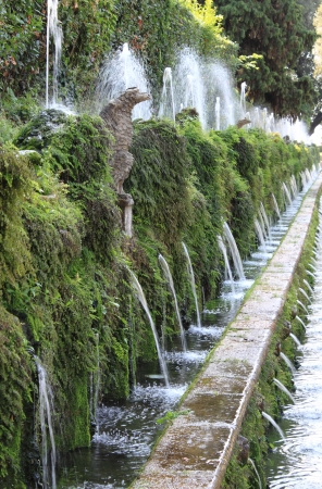 Hundred Fountains in Villa dEste in Tivoli, Italy