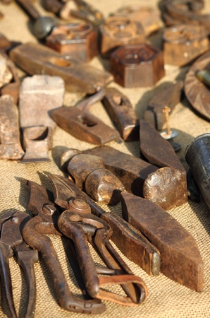 workbench: Tools of a blacksmith in a workbench Stock Photo