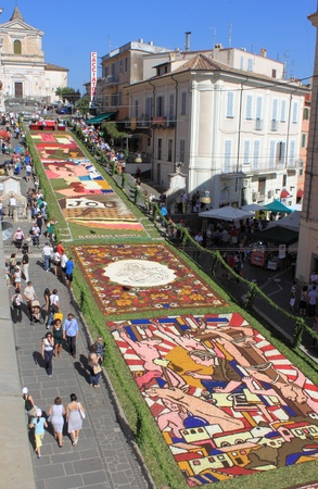 GENZANO, ITALY - JUNE 17: Floral Carpet in the Main Street on June 17, 2012 in Genzano, Italy. This event takes place every year and almost 350.000 flower petals were used this year Editoriali