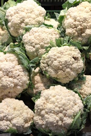 greengrocery: Fresh cauliflowers for sale in a greengrocery Stock Photo
