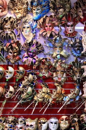 painted face mask: Rows of venetian carnival masks