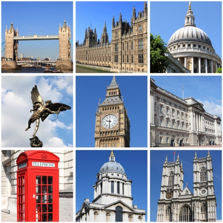 Collage of landmarks of London, UK
