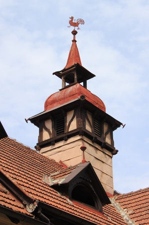 Old traditional rooftop chimney on a german traditional medieval house photo