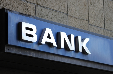 Bank office sign on building