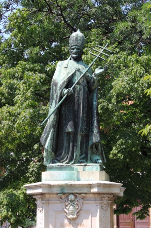 beatification: Statue of Pope Innocent XI in Budapest, Hungary Stock Photo